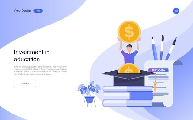 Modèle de page de destination. concept d'investissement pour l'éducation en ligne d'apprentissage, de formation et de cours. Vecteur Premium