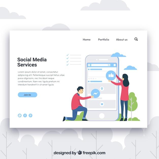 Modèle de page de destination avec concept de services de médias sociaux Vecteur gratuit