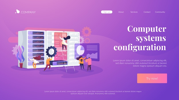 Modèle De Page De Destination De Configuration Des Systèmes Informatiques Vecteur gratuit