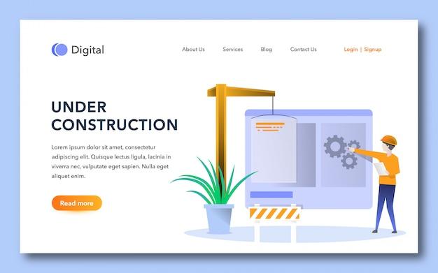 Modèle de page de destination en construction Vecteur Premium