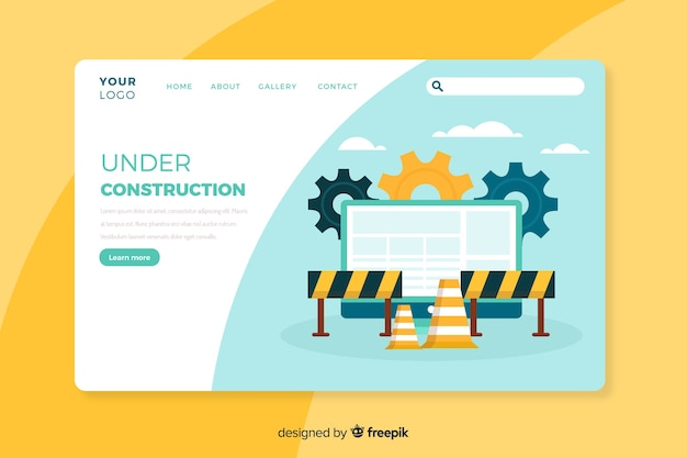 Modèle de page de destination en construction Vecteur gratuit