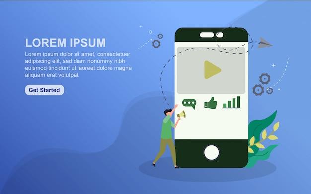 Modèle de page de destination de contenu. concept de design plat de design de page web pour site web. Vecteur Premium
