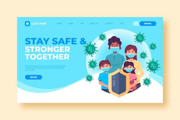 Modèle De Page De Destination De Coronavirus Vecteur gratuit