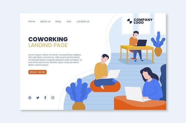 Modèle De Page De Destination De Coworking Vecteur gratuit