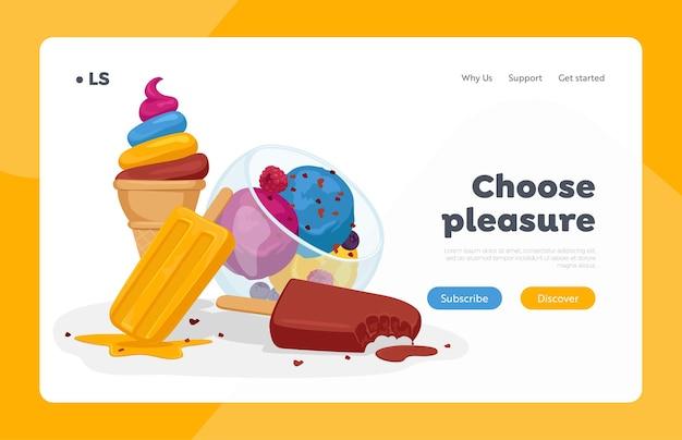 Modèle De Page De Destination De Crème Glacée Vecteur Premium