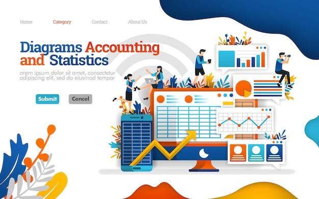 Modèle de page de destination. le diagramme de comptabilité et de statistiques aide à augmenter les performances de l'entreprise, illustration vectorielle Vecteur Premium