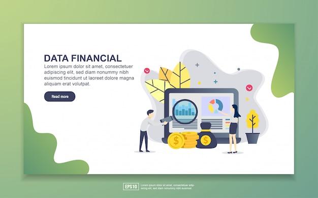 Modèle de page de destination des données financières Vecteur Premium