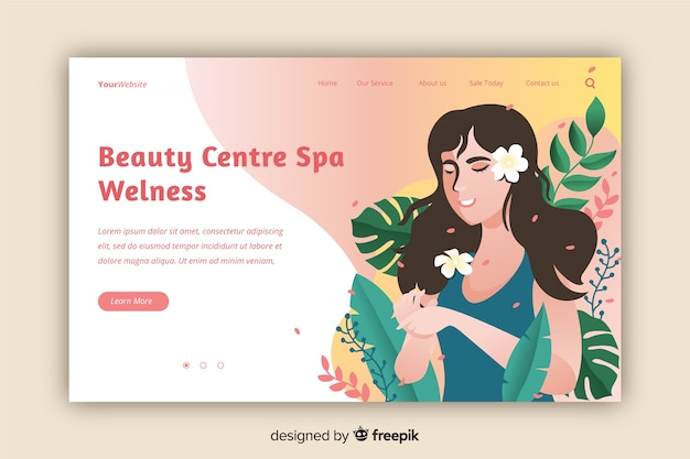 Modèle de page de destination du centre de spa Vecteur gratuit