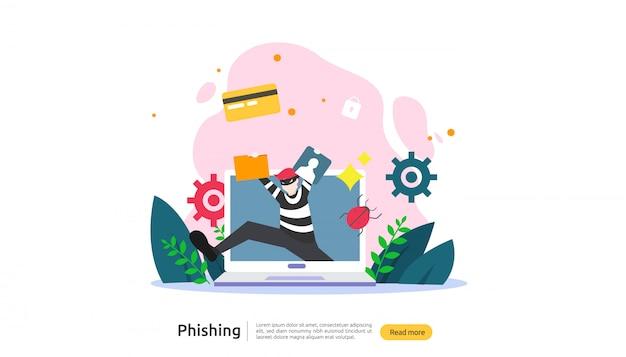 Modèle de page de destination du concept d'attaque de phishing par mot de passe Vecteur Premium