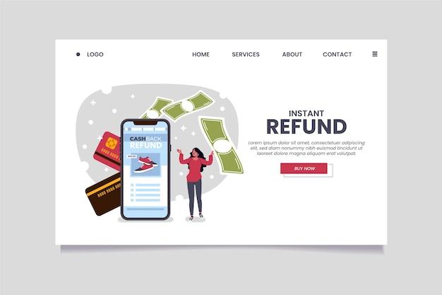 Modèle De Page De Destination Du Concept De Cashback Vecteur gratuit