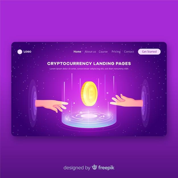 Modèle de page de destination du concept de crypto-monnaie Vecteur gratuit