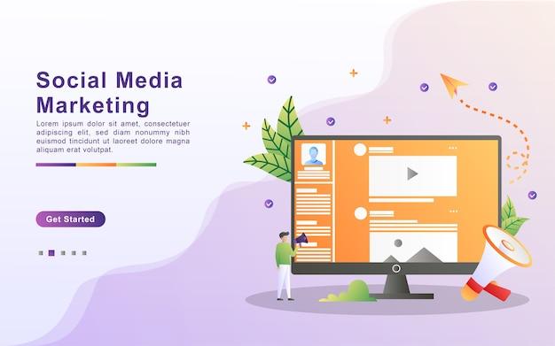 Modèle De Page De Destination Du Marketing Des Médias Sociaux Dans Le Style D'effet Dégradé Vecteur Premium