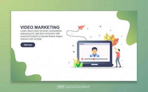 Modèle de page de destination du marketing vidéo. concept de design plat moderne de conception de page web pour site web et site web mobile. Vecteur Premium