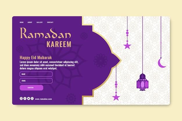 Modèle De Page De Destination Du Ramadan Vecteur gratuit