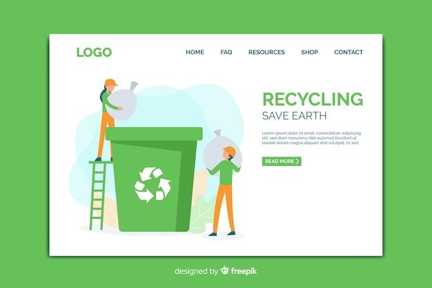 Modèle de page de destination du recyclage Vecteur gratuit