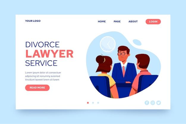 Modèle De Page De Destination Du Service D'avocat De Divorce Vecteur Premium