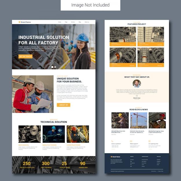 Modèle de page de destination du service de construction Vecteur Premium