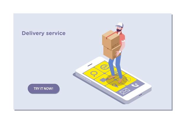 Modèle de page de destination du service de livraison et du commerce électronique. Vecteur Premium