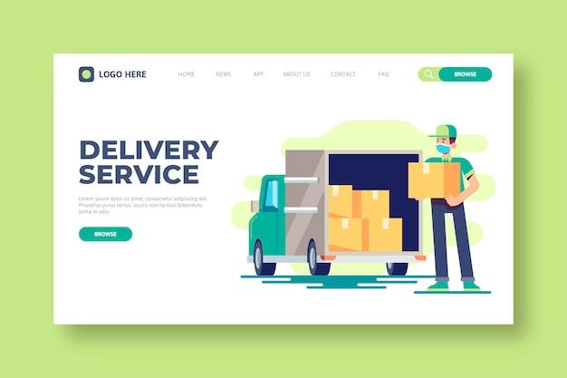 Modèle De Page De Destination Du Service De Livraison Vecteur gratuit