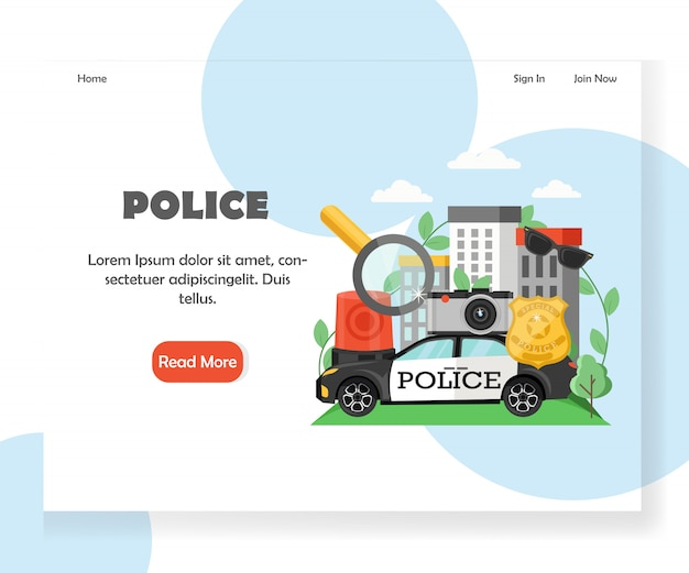 Modèle de page de destination du site web de la police Vecteur Premium