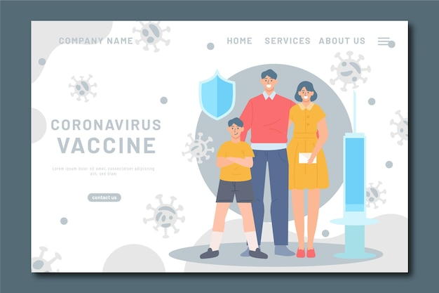 Modèle De Page De Destination Du Vaccin Contre Le Coronavirus Dessiné à La Main Vecteur gratuit