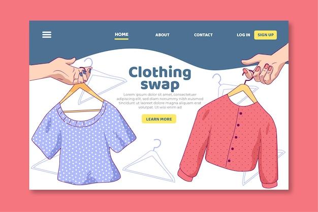 Modèle De Page De Destination D'échange De Vêtements Vecteur gratuit