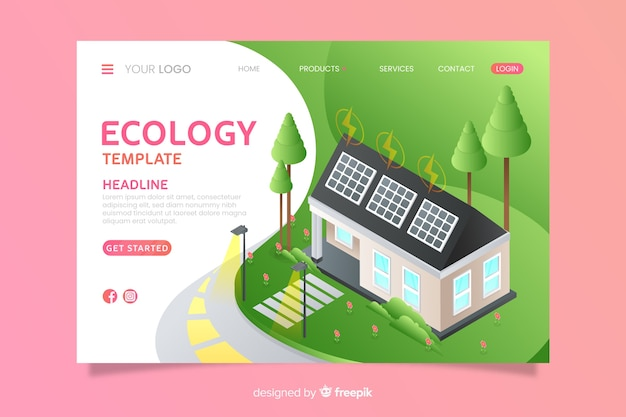 Modèle de page de destination d'écologie isométrique Vecteur gratuit