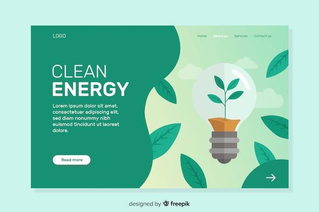 Modèle de page de destination d'écologie plate Vecteur gratuit