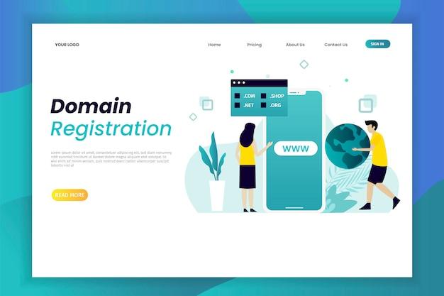 Modèle De Page De Destination D'enregistrement De Domaine Vecteur Premium