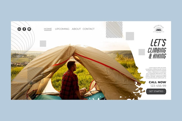 Modèle De Page De Destination D'escalade Avec Photo Vecteur gratuit