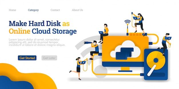 Modèle de page de destination. faites du disque dur le stockage en ligne sur le cloud. partage de fichiers dans le stockage dur pour l'hébergement en nuage Vecteur Premium