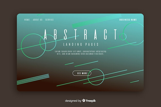 Modèle de page de destination de formes abstraites linéaires Vecteur gratuit