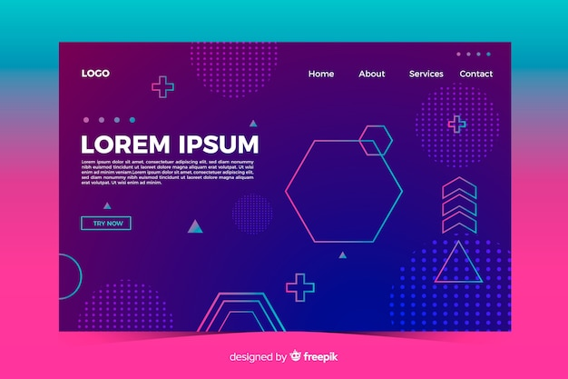 Modèle de page de destination de formes géométriques abstraites Vecteur gratuit