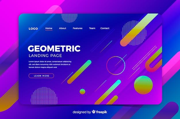 Modèle de page de destination de formes géométriques dégradé coloré Vecteur gratuit