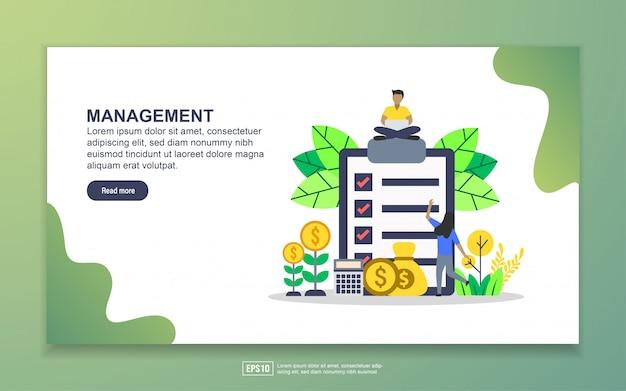 Modèle de page de destination de la gestion. concept de design plat moderne de conception de page web pour site web et site web mobile Vecteur Premium