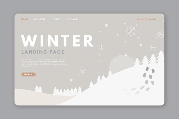 Modèle De Page De Destination D'hiver Vecteur gratuit