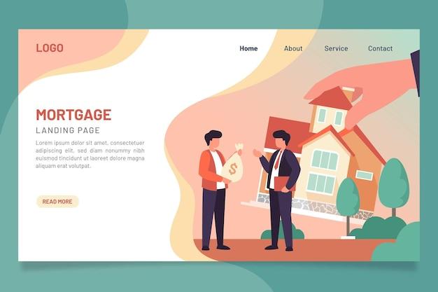 Modèle De Page De Destination Hypothécaire Design Plat Vecteur gratuit