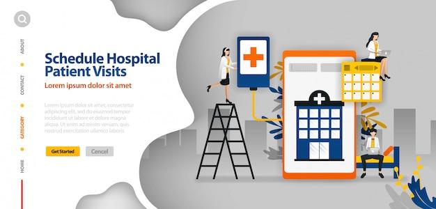 Modèle de page de destination avec illustration vectorielle de l'hôpital Vecteur Premium