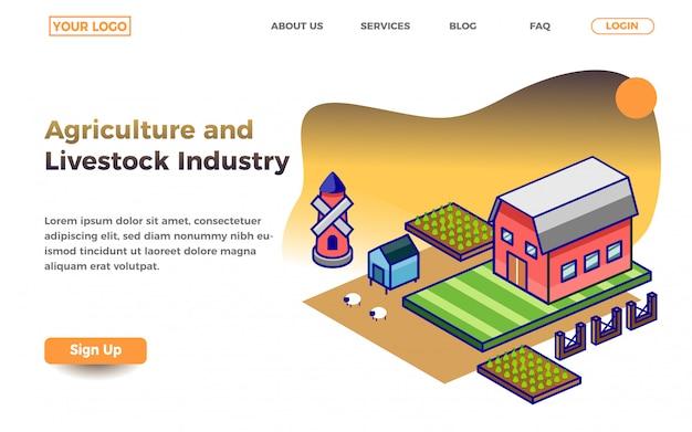 Modèle de page de destination de l'industrie de l'agriculture et de l'élevage Vecteur Premium