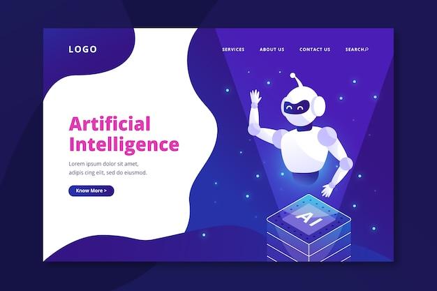Modèle de page de destination d'intelligence artificielle Vecteur gratuit