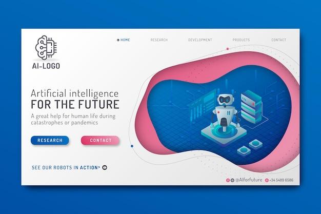 Modèle De Page De Destination D'intelligence Artificielle Vecteur Premium