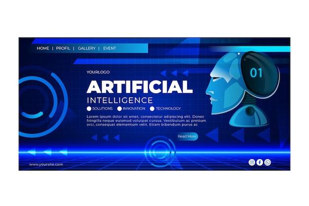 Modèle De Page De Destination De L'intelligence Artificielle Vecteur Premium