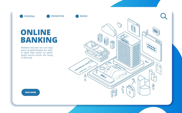 Modèle De Page De Destination Isométrique Des Services Bancaires En Ligne Vecteur Premium