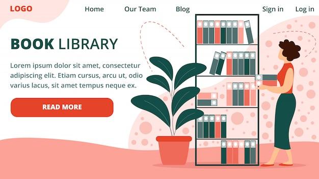 Modèle De Page De Destination Jeune Bibliothécaire Vecteur Premium