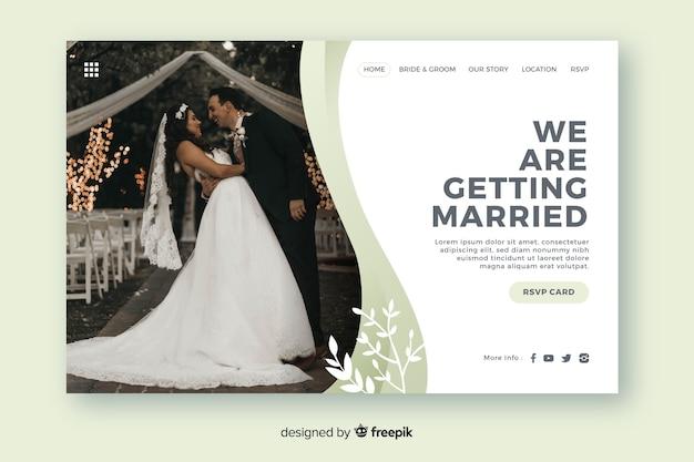 Modèle De Page De Destination De Mariage Avec Photo Vecteur gratuit