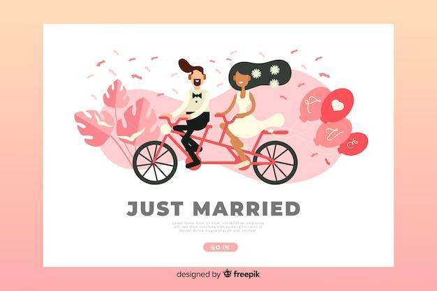 Modèle de page de destination de mariage plat Vecteur gratuit