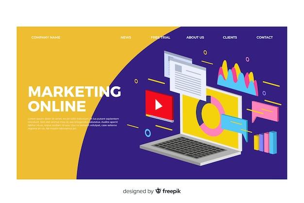 Modèle de page de destination marketing isométrique Vecteur gratuit
