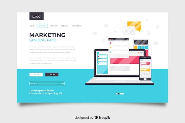 Modèle de page de destination marketing à plat Vecteur gratuit