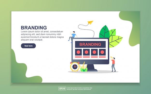 Modèle de page de destination de la marque. concept de design plat moderne de conception de page web pour site web et site web mobile. Vecteur Premium