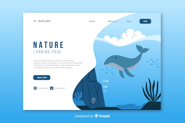 Modèle de page de destination de nature créative Vecteur gratuit